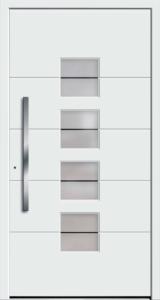 Białe drzwi zewnętrzne z klamką w pionie.Na środku drzwi są szklane okienka biegnące z góry na dół