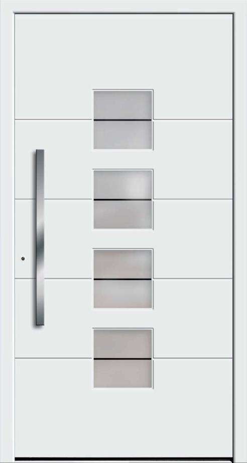 Białe drzwi zewnętrzne zklamką wpionie.Na środku drzwi są szklane okienka biegnące zgóry nadół