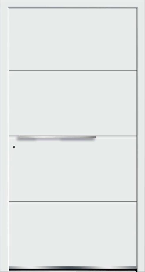 Białe drzwi zewnętrzne zklamką wpoziomie.