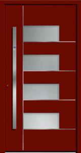 Czerwone drzwi z paskami przeszklonymi. Po lewej stronie jest duża klamka na ponad połowę wysokości drzwi.