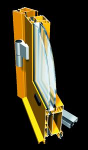 Przekrój drzwi o kolorze żółtym. Szyba jest dwuwarstwowa.