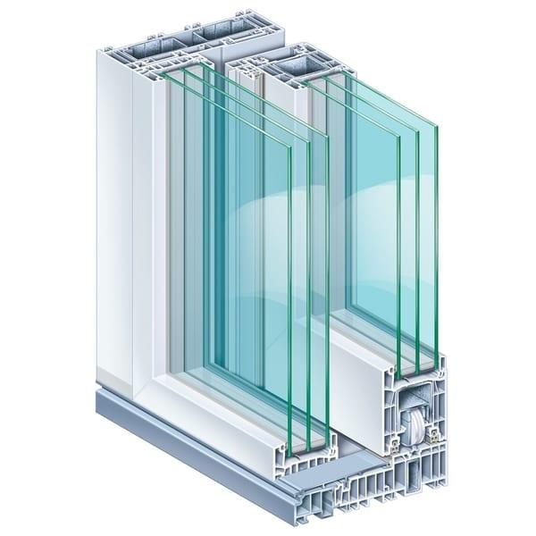 Przekrój okna zbiałą ramą. Okno posiada sześć warstw szkła.
